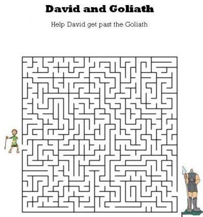 Kids Bible Worksheets-Free, Printable David and Goliath Maze ...