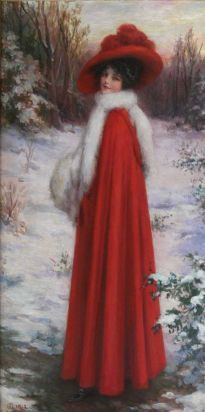 """J. Knowles Hare Jr. (American, 1887-1947) - """"Lady In red"""" (A portrait of Gladys Granger), 1912 - Oil on Canvas [Gladys Granger was the artist's wife]"""