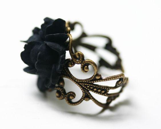 Black Rose Ring - Gothic Steampunk Adjustable Filigree on Etsy, $18.00