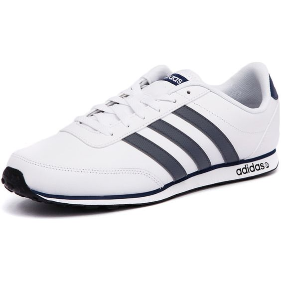 Adidas Neo V Racer White/Blue (75 CAD) ? liked on Polyvore featuring mens, men\u0027s  shoes and men\u0027s sneakers | Sneakers | Pinterest | Adidas and Blue things