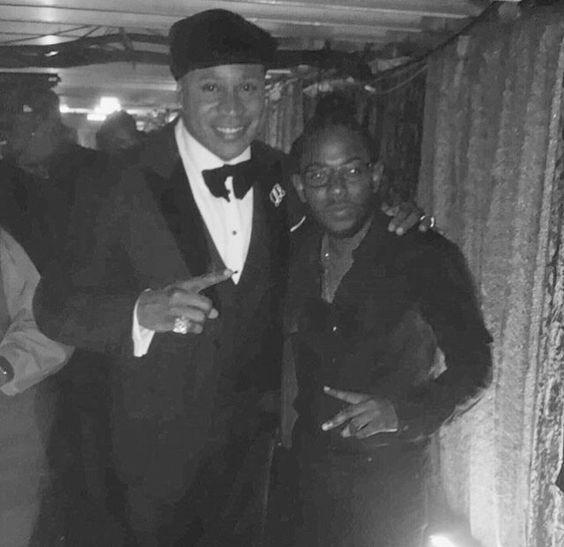 LL Cool J and Kendrick Lamar  backstage at the Grammys Awards 2016
