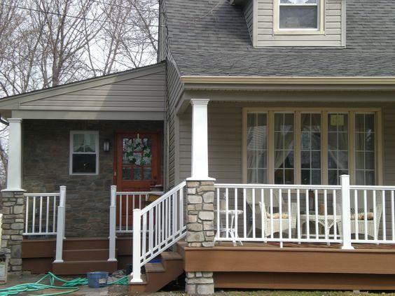 Stone Columns Side Porch And White Vinyl On Pinterest