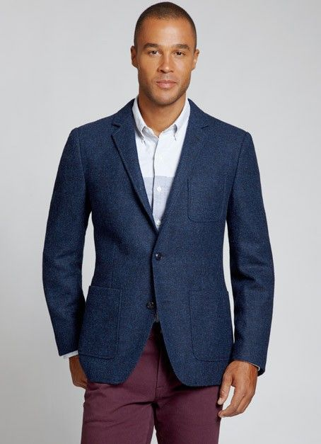 Navy Tweed Blazer Mens