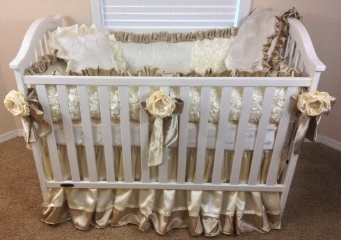 Little Bunny Blue Decadence Crib Bedding Gold And Ivory Baby Belle Everleigh Pinterest Cot