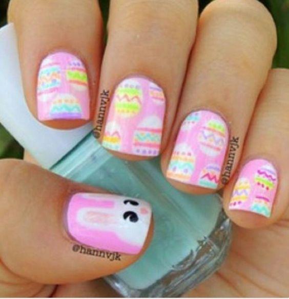Pink bunny nails