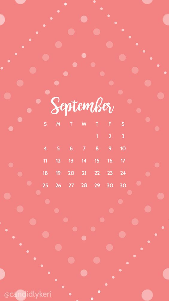 Calendar Wallpaper Iphone : Pink polka dot cute september calendar wallpaper you