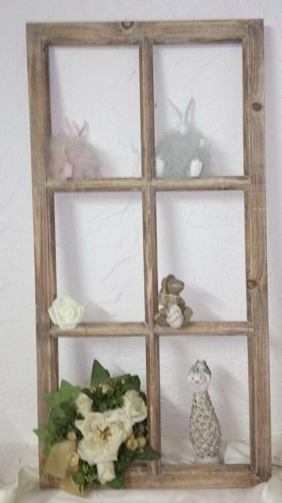 Deko Fenster Fensterrahmen Braun Holz 85cm Shabby Vintage Landhaus