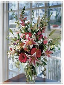 Roses, lilies, gerberas, alstromeria ... all her favorites, all in pink.  Love it? We ship nationwide! @boydsflowers