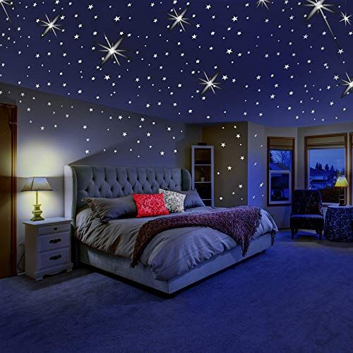 Glow In The Dark Stars For Ceiling Or Wall Stickers Glowing Wall Decals Stickers Room Decor Outer Space Bedroom Outer Space Bedroom Decor Kids Bedroom Decor