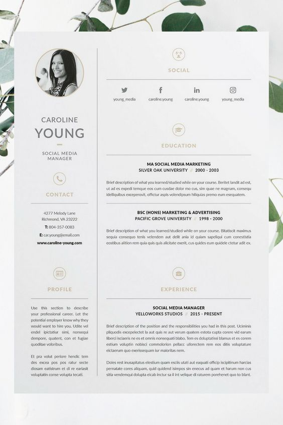Professional 3 Page Resume/CV & Cover Letter Template / Our design, 'Caroline', contains a professional two-page​ design with matching cover letter and a minimal, clean layout. Everything is editable including fonts and colors so be sure to personalize to suit your needs. Move and duplicate elements and make the design your own!