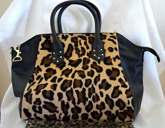 Black and Leopard Pattern Large Handbag Shopper Plus Matching Scarf NEW
