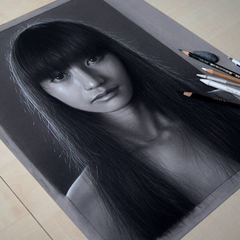"""""""Another small drawing in between. #hyperrealism #portrait #face #drawing #dzimirsky"""""""
