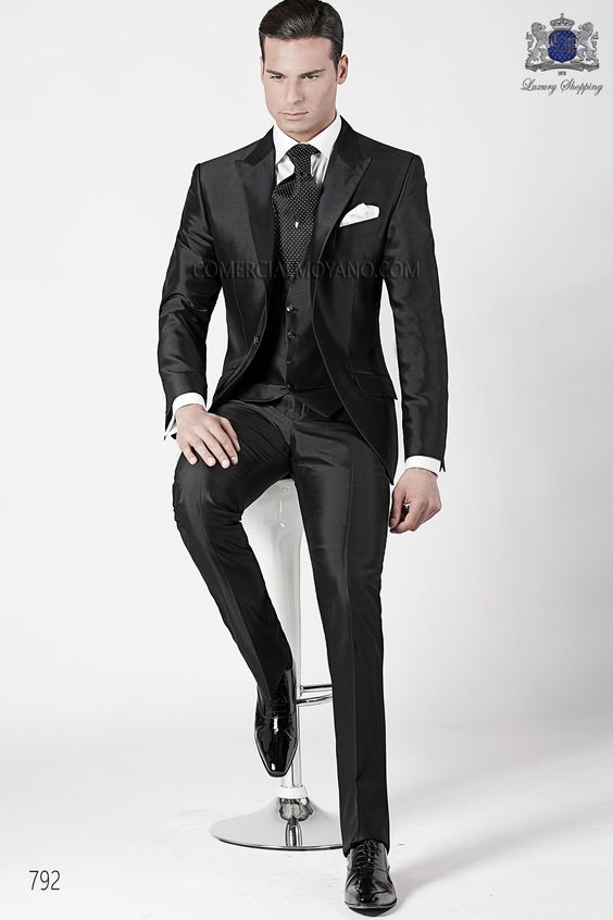 Italian bespoke three piece black suit in silk shantung fabric