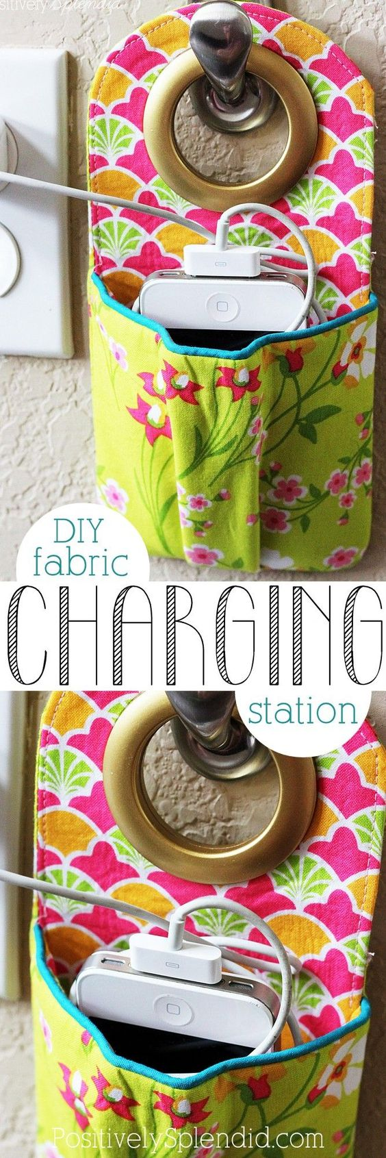 Hanging phone charging station sewing pattern and tutorial. This is such a great idea to keep a phone safe and cords contained!: Phone Holder, Sewing Projects, Phone Charging Stations, Station Sewing, Sewing Idea, Diy Fabric Charging Station, Crafts Sewing, Diy Phone Charging Station, Sewing Patterns