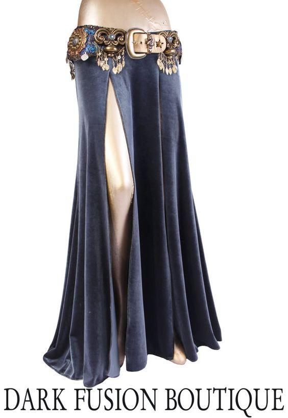 Skirt, Dark Earthy Blue Stretch Velvet, 2 Slits, Mermaid, Nouveau, Tribal, Fusion Bellydance, Dark Bridal, Cabaret, Goth, Cocktail, Boutique
