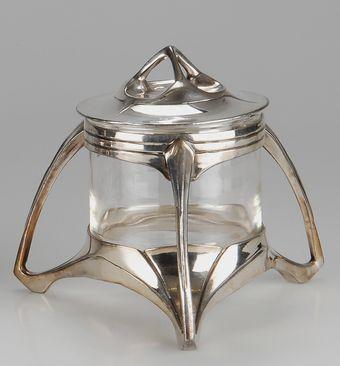 German Sugar Bowl, c. 1905, pewter and glass, 14cm H.