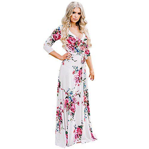 Summer Women Maxi Wrap Dress Long Sleeve Belt Boho Printed Fashion Party Dresses
