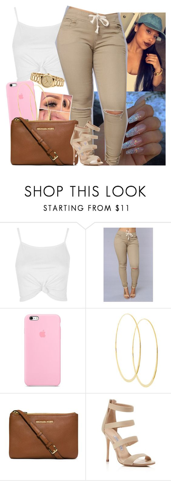 """""""Don't stop get it get it 😂"""" by saucinonyou999 ❤ liked on Polyvore featuring Topshop, Lana, MICHAEL Michael Kors, Charles David and Gucci"""