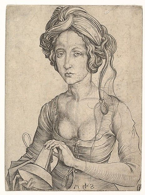 15th century Martin Schongauer (German, Colmar ca. 1435/50–1491 Breisach)   A Foolish Virgin in Half-Figure