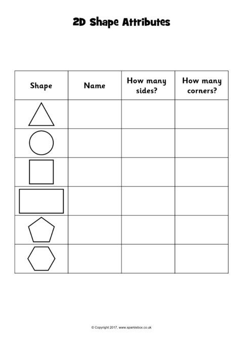 2d Shape Attributes Chart Worksheets Sb11818 Sparklebox Shapes Worksheets 2d Shapes Cvce Words