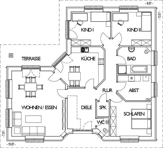Winkelbungalow Grundriss Erdgeschoss mit 132 m² Wohnfläche my