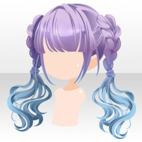 File Hairstyle Bi Color Pop Twin Hair Ver A Purple Jpg Chibi Hair Anime Hair Manga Hair