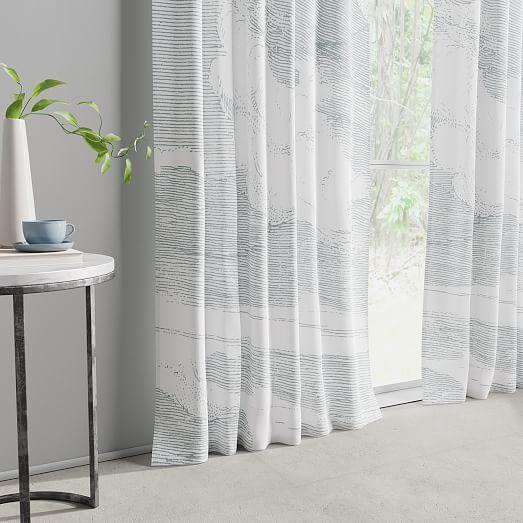 Cotton Canvas Etched Cloud Curtains Set Of 2 Washed Blue