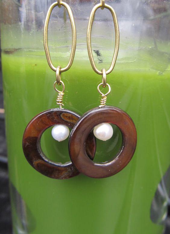 Brown Shell Earrings by koatesdesigns on Etsy, $25.00