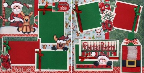 two page scrapbook layouts for Christmas | Santa Baby Christmas 2 Premade Scrapbook Pages ... | Scrapping and Ca ...