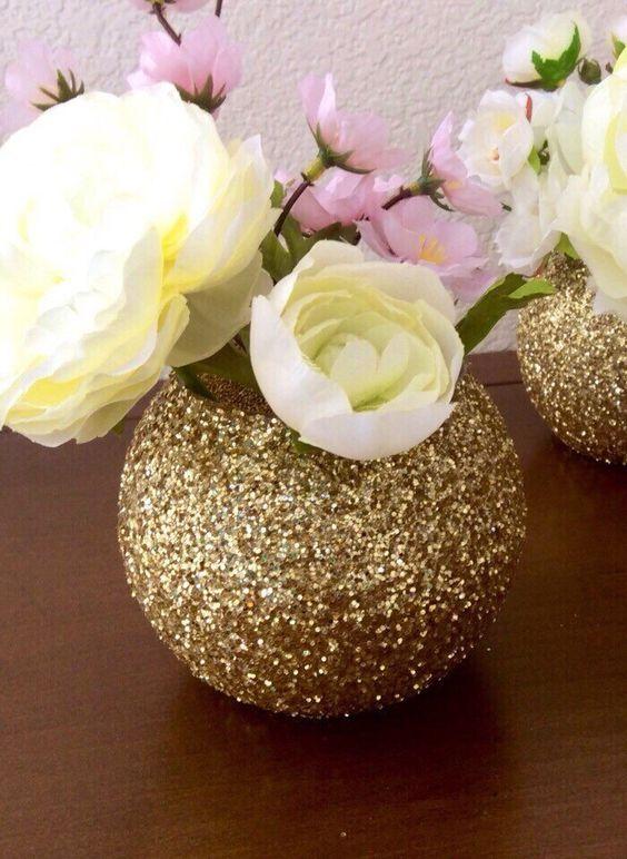 Gold glitter bubble bowl globe vase wedding for Glitter bowl