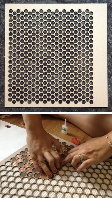 Copper Floor Penny Tile jig...  via ymfy     http://themadeshop.goodsie.com/copper-penny-tile-jig