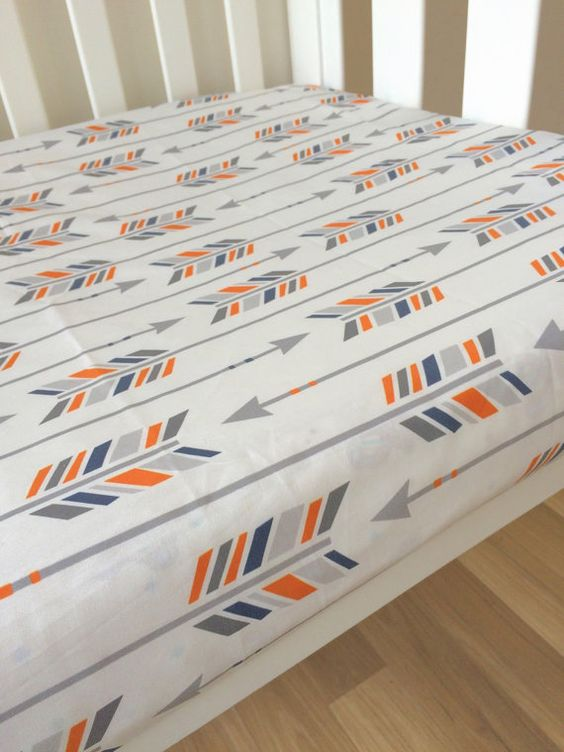 Orange Navy Grey arrows Fitted Cot Sheet Crib by ElskeLittleStyle