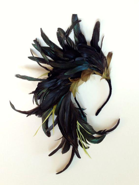 Midnight Flight Fascinator Feather Headpiece by katieburley