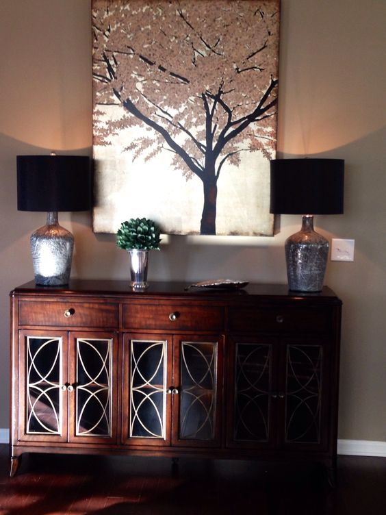 Hooker Buffet with large canvas Transitional design