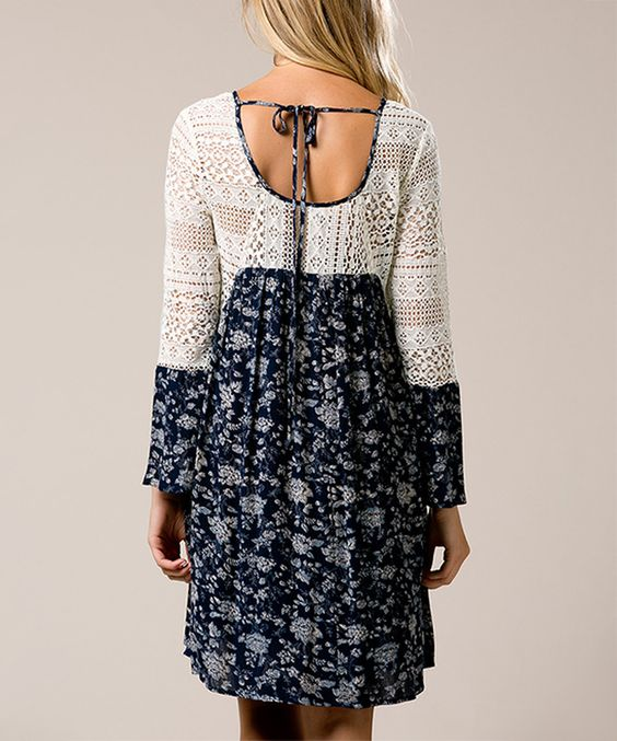 This Andrée Blue Floral & Ivory Crochet-Accent Scoop Back Dress by Andrée is perfect! #zulilyfinds