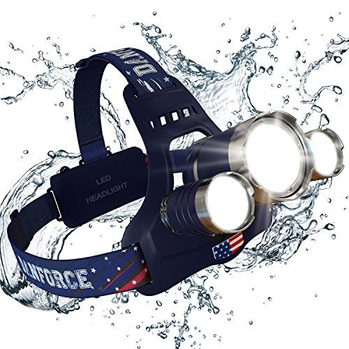 Brightest And Best Led Headlamp American Made 6000 Lumen Flashlight Improved Cree Led Rechargeable 18650 Headlight Flashlights Waterproof Hard Hat Light Bright Led Headlamp Cree Led Headlamp