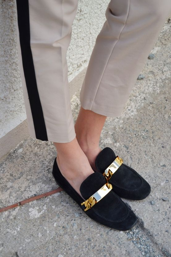 replica celine - C��line black suede gold chain loafers | Image Inspiration ...