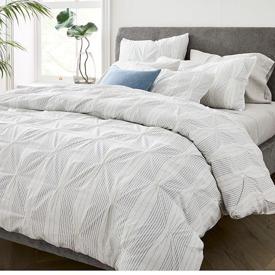 Organic Cotton Striped Pintuck Duvet Cover Shams In 2021 Modern Duvet Covers Pintuck Duvet Cover Pintuck Duvet