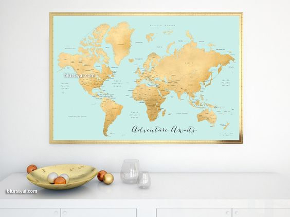 World map print with countries and states labelled, aquamarine and gold foil effect, Adventure Awaits
