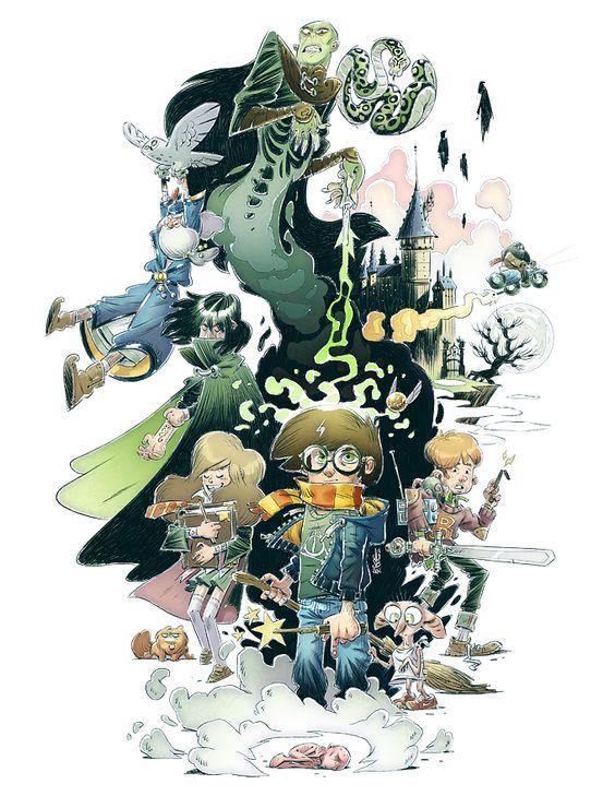 Harry Potter et al. illustration by Stephane Boutin