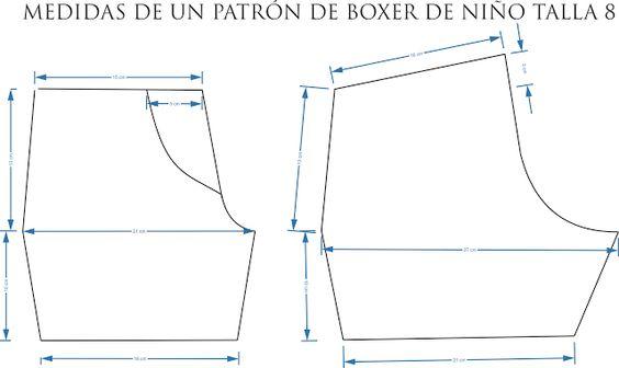 Mariana Creativa: MEDIDAS DE UN PATRÓN DE BOXER DE NIÑO TALLA 8: