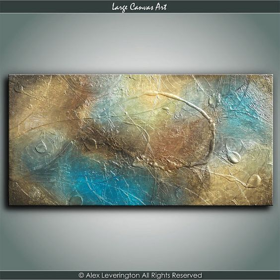 ORIGINAL Metallic Gold Heavy Textured Abstract Canvas Painting Modern Palette Knife Metallic Texture Art Collection 24x48
