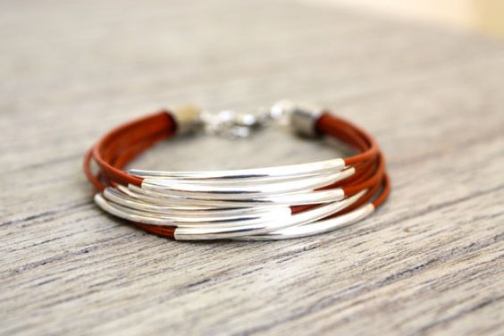 Inspiration - 1mm colored leather or cotton cording, sterling tubes, silver end caps and clasp