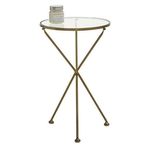 Tall Coffee Table Wrought Iron Side Table Transparent Tempered