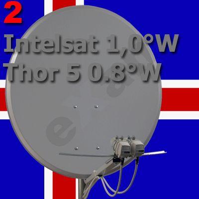 Iceland Fernsehen :: Ausrichtung einer SAT-Anlage Thor 0.8W und Intelsat 1.0W