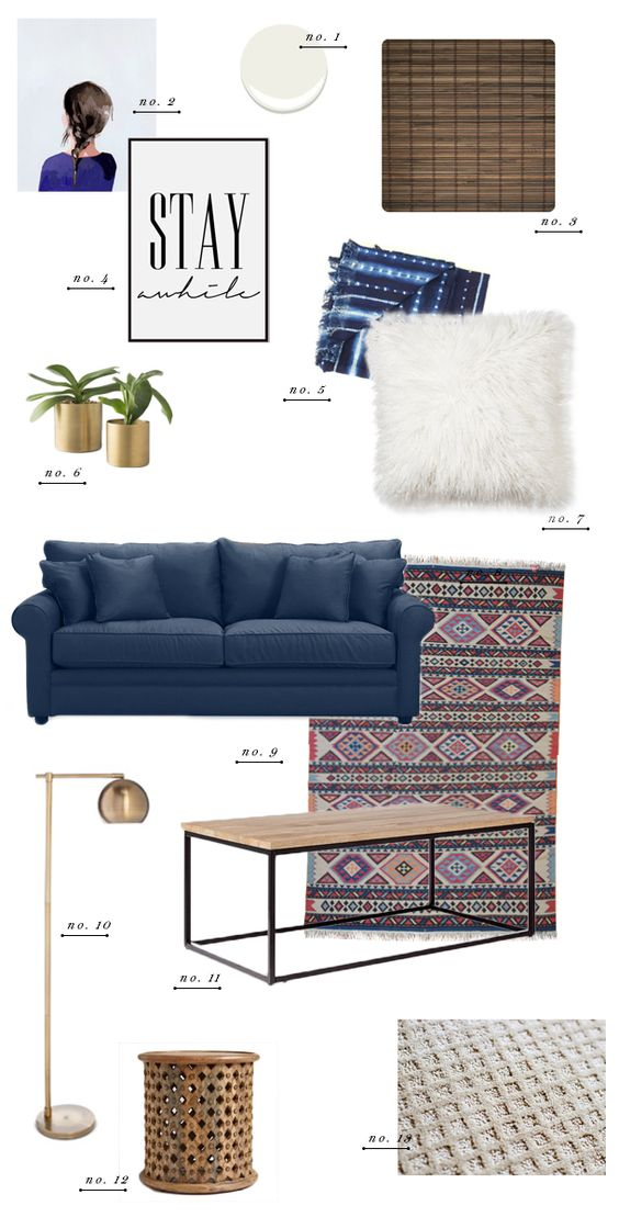 Living room style update navy blue sofa earnest home co for Navy couch living room