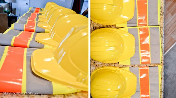All guests received hard hats and safety vests as party favors at this construction-themed birthday party!
