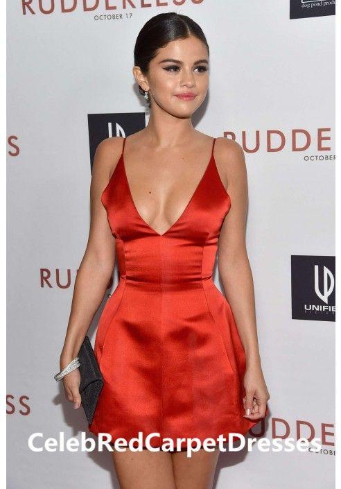 Selena Gomez Short Red Satin Cocktail Dress Rudderless LA Premiere ...
