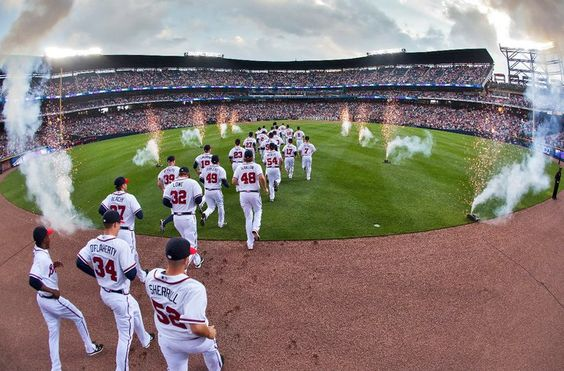 The Braves enter from center field on 2011 Opening Day at Turner Field.    (Photo by Pouya Dianat/Atlanta Braves/Getty Images)