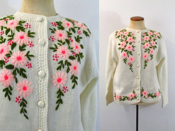 1960s Grandma Cardigan Sweater Cream Kitsch Button Down Pink Floral Knit Vintage 60s Flowers Embroidery Jumper Medium M Long Sleeve Cropped